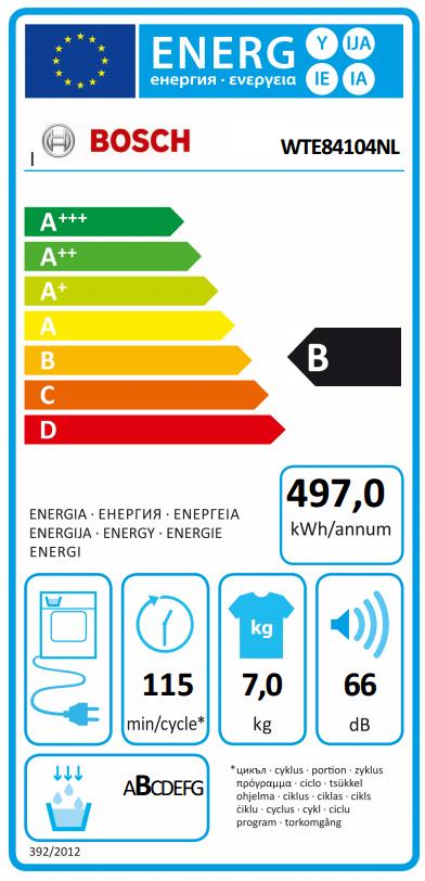 Bosch WTE84104NL energielabel