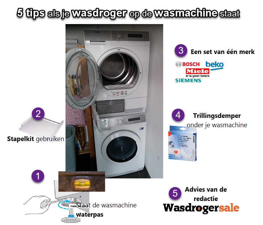 Aandachtspunten bij de droger op wasmachine plaatsen