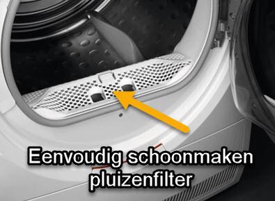 De wasdroger is gemakkelijk schoon te houden