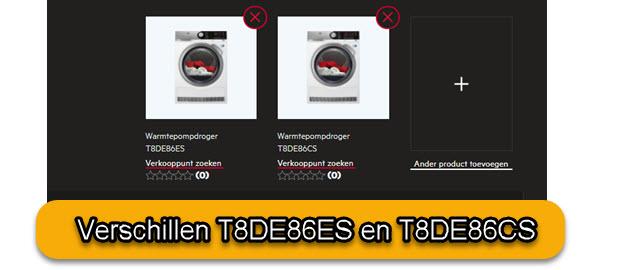 Verschillen tussen T8DE86ES en T8DE86CS
