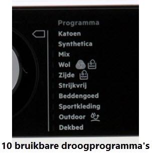 10 droogprogramma's beschikbaar