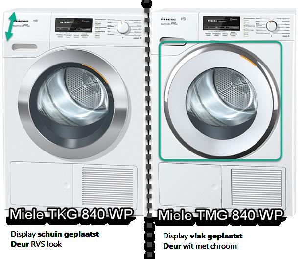 Verschillen tussen TMG840WP en TKG840WP