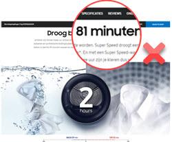 Misverstanden over droogtijd op website Samsung