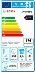 energielabel van de Bosch WTR88T00NL