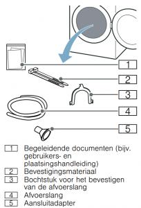 meegeleverde accessoires en installatie van de wasdroger