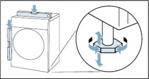 begin met het waterpas zetten van de wasdroger